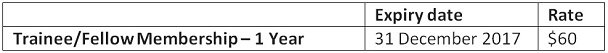 Trainee-Fellow Membership rate table - 2017